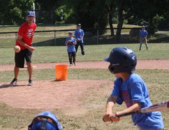 <p>Chris Poirier delivers a pitch, during a scrimmage at the River's Edge Baseball Camp on Tuesday, July 10, 2018, in Cornwall, Ont.</p><p> Todd Hambleton/Cornwall Standard-Freeholder/Postmedia Network
