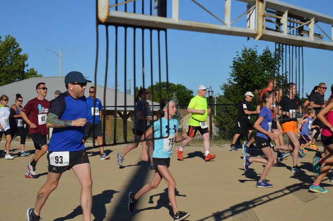 Sixty runners and walkers, young and old, enthusiastically laced up their running shoes and hit the track for this year's Healthy Heart Hustle. (PHOTO BY LEIGH COVE/CENTRAL HURON YMCA)