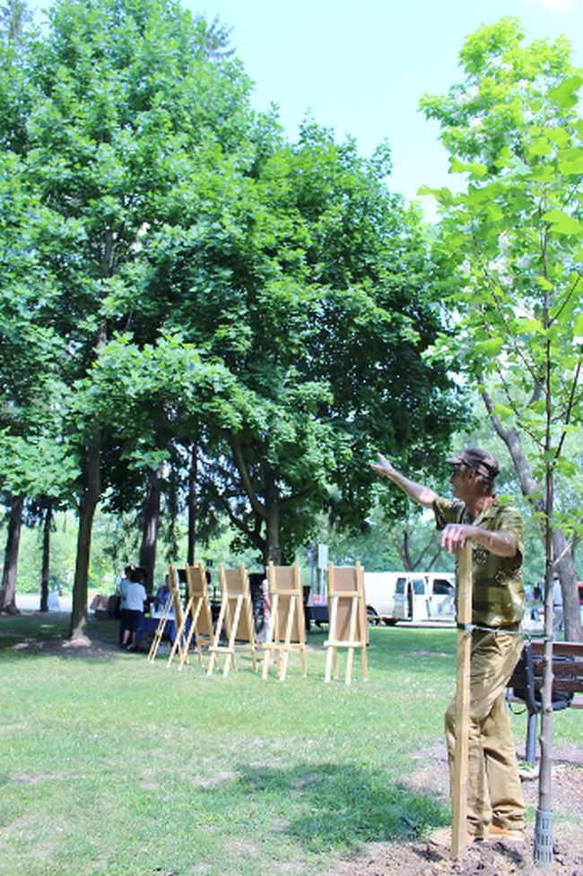 Art in the Park vice-president David Humphrey leans next to the new tulip tree while pointing to one that was planted about 20 years ago on Wednesday, July 11, 2018 in Stratford, Ont. Terry Bridge/Stratford Beacon Herald/Postmedia Network