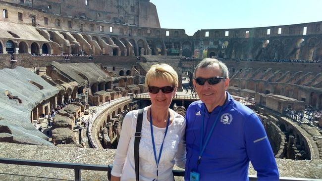 <p>Raisin River Footrace directors Sheila and Wendell Lafave, at the Roman Colosseum during a visit to Italy. The Lafaves have been race directors for a decade, but the August 2018 40th edition will be their final one. </p><p> Handout/Cornwall Standard-Freeholder/Postmedia Network