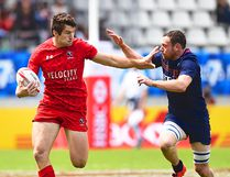 Belleville's Matt Mullins on the burst for Team Canada during an HSBC World Rugby Sevens series contest. He'll play for the Canadian men at the inaugural Sevens World Cup this month in San Francisco. (Getty Images)
