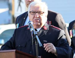 Major Stephen Hibbs of the Salvation Army of Fort McMurray speaks at the unveiling of a monument for Canadians who served in Afghanistan outside Royal Canadian Legion Branch 165 in Fort McMurray, Alta. on Saturday October 28, 2017. Vincent McDermott/Fort McMurray Today/Postmedia Network