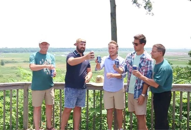 The owners of Hometown Brew Co. have announced plans to build a brewery in partnership with Long Point Eco-Adventures near St. Williams. Toasting the new venture are, from left, Mike McArthur (Eco-Adventures), Tommy Devos (Hometown Brew), Dusty Zamecnik (Hometown Brew), Matt Devos (Hometown Brew) and Dave Pond (Eco-Adventures). Contributed photo