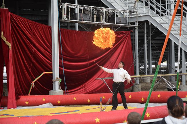 FILE PHOTO The ringmaster eats fire and then blows a huge fireball at The Great Benjamins Circus at a show in Ontario earlier this year. The Great Benjamins Circus will be in Beaverlodge, Sexsmith and Spirit River at 7 p.m. on July 16, 17 and 18, respectively.
