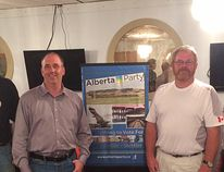 The Alberta Party Drumheller-Stettler Board of Directors, including (l-r) Dan Chostner, the Director of Membership and Nikota's Campaign Manager, Barrie Hoover the Director of Candidate Recruitment and Dan Moe Chief Financial Officer, officially endorsed Mark Nikota, second from left, as their candidate for the next Provincial election at their June 22 constituency association meeting.