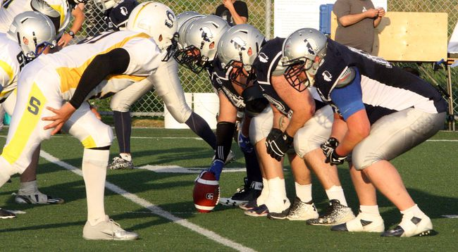 The Sudbury Spartans offensive line prepares for the snap during Northern Football Conference action against the Sault Steelers at James Jerome Sports Complex in Sudbury, Ont. on Saturday, July 7, 2018. Ben Leeson/The Sudbury Star/Postmedia Network