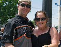 Welland's Fern Poulin and Marina O'Sullivan got engaged during PD13 festivities in Port Dover on Friday. The two were high school sweethearts and reconnected after many years apart at a Friday the 13th rally in 2016. ALEX VIALETTE/Simcoe Reformer
