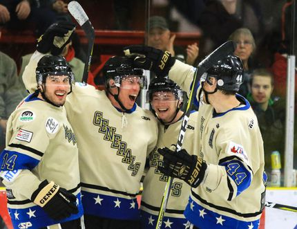 Ian Barteaux of the Lacombe Generals (second from left) celebrates with teammates Collin Valcourt, No. 14, Dylan Nowakowski, No. 42, and Brennan Evans, No. 44 after scoring a goal and the eventual game winner against the Innisfail Eagles during third period Allan Cup Hockey West league action on Sunday, Feb. 4 at the Gary Moe Auto Group Sportsplex. Senior hockey returns in September with the second annual ACHW preseason tournament.(Ashli Barrett/Lacombe Globe)