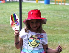 Silken McConnell joins Pride Family Day with her brother and mom on July 14, 2018. Julia Lloyd/For The Sudbury Star