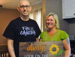 Mathew Shepherd, 23, stands alongside his mother Amy Schram at the family's home just west of Simcoe. Shepherd has battled cancer for the past two years. JACOB ROBINSON/Simcoe Reformer