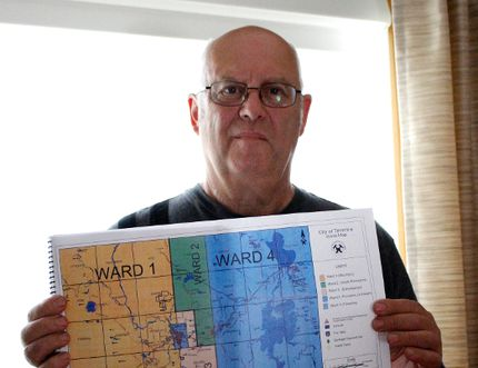 Dino Giannunzio who lives in Porcupine said he has a plan to separate Ward 2 and 4 from the City of Timmins. He said taxes are too high, home values are dropping and it's too expensive to live in Timmins. Joshua Santos/The Daily Press.