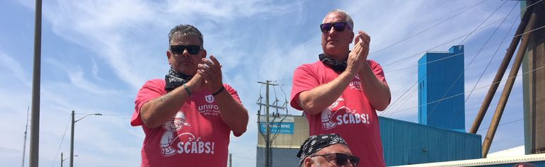 Gary Lynch, president of Unifor Local 16-0, Glenn Sonier, Unifor nationalrep and Scott Doherty, assistant to Unifor president Jerry Dias announce the Goderich salt mine contract has been ratified. (JANE SIMS, The London Free Press)