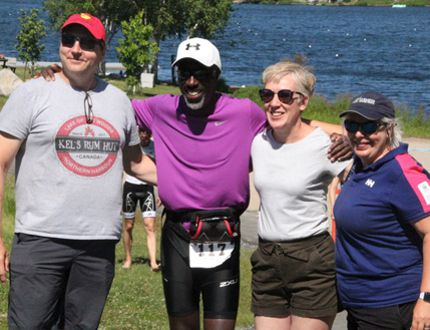 Malcolm Harvey (second from left) celebrates his completion of the sprint distance during the 2018 Kenora Borealis Triathlon with his long-time friends Kelly Brown (left), Barb Joyal and Linda Strachen. In 2017 Harvey did the Try-A-Tri and according to Joyal everyone should expect to see him out next year for the Olympic distance - though he hasn't made that commitment. SHERI LAMB/Daily Miner and News