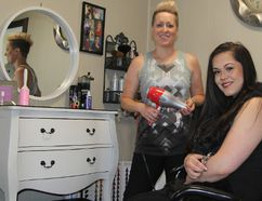 Jamie Lapointe, left, the owner of A Girl And Her Scissors salon, along with aesthetician Emma Belisle will be offering a free hair wash and cut, and a foot soak and nail clipping for the homeless this Saturday. Registration is at The Living Space homeless shelter and individuals can sign up anytime up to the day before.
