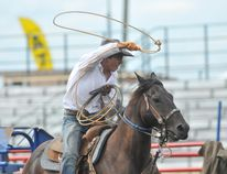 Gordon Anderson/Daily Herald-Tribune Fifteen-year-old Dawson Cardinal in action at the Teepee Creek Junior Rodeo last Thursday. Dawson and his younger brother Owen have logged a lot of rodeo miles since mid-June.