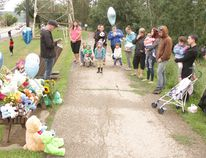 The Peace River community came together at a vigil on July 13 for a missing two year old boy whose body was recovered at a construction berm on the Peace River off 94 St., on July 12. The toddler went missing on July 6 near the Wapiti River, south of Grande Prairie.