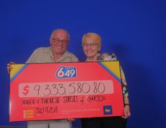 Roger and Therese Sirois of Garson celebrate their Lotto 6/49 win of more than $9 million. (Photo supplied)