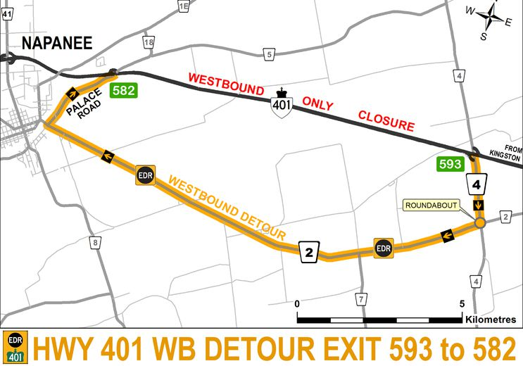 Portion of Highway 401 to be closed Thursday —OPP