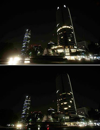 "A combination photo shows the St. Regis hotel next to the monument ""Diana La Cazadora"" before and during Earth Hour in Mexico City, Mexico, March 26, 2011. REUTERS/Henry Romero"