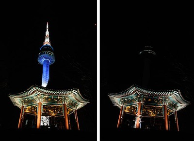 A combination picture shows a view of N Seoul Tower and a traditional octagonal pavilion before and during Earth Hour in Seoul, South Korea, March 26, 2011. REUTERS/Jo Yong-Hak
