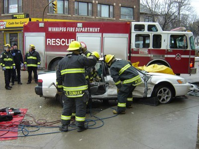 A woman had to be extricated from a car after a crash in the North End. Emergency crews were called to the scene near the intersection of Salter Street and Selkirk Avenue about 11:15 a.m. Thursday. It's believed three people were taken to hospital, Winnipeg police said, although their medical conditions were unknown. The cause of the collision is under investigation. (LAURIE MUSTARD/Winnipeg Sun)