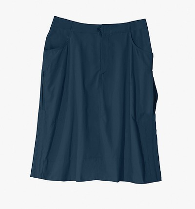 A navy skirt will work with almost any coloured top, and can add a feminine flair to your vacation wardrobe. Different Drummer Legends Toggle Skirt, $129, Tilley Endurables, tilley.com.