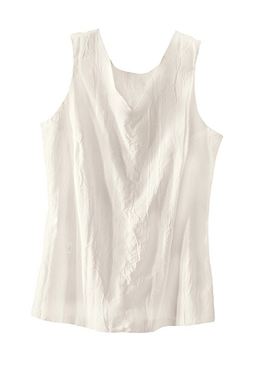 If you're comfortable going sleeveless, make sure to pack a white tank top option. It'll serve you well during the day, and can be added under a cardigan or blazer for cooler evenings. Crinkled Voile Tank, $55, Tilley Endurables, tilley.com.
