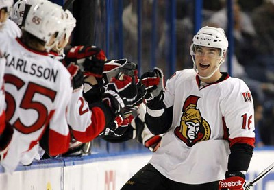 Ottawa Senators' Bobby Butler (R) celebrates his goal in the second period of a NHL hockey game against the Tampa Bay Lightning of their NHL hockey game in Tampa, Fla. Friday (Mike Carlson/Reuters)