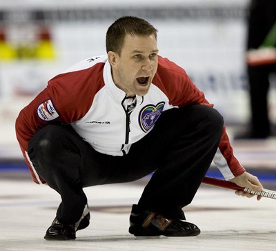 Newfoundland and Labrador Skip Brad Gushue encourages his teammates during their game against Quebec at The Brier in London, Ontario on Thursday, March 10, 2011. (DEREK RUTTAN/QMI AGENCY)