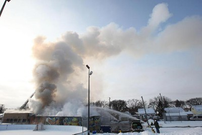 Fire consumes the East Elmwood Community Centre Wednesday, March 9, 2011. The fire started about 4:30 a.m. The cause is still under investigation. (MARCEL CRETAIN/Winnipeg Sun)