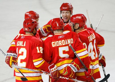 The Calgary Flames celebrate their 1-1 tying goal against the Nashville Predators during NHL action at the Scotiabank Saddledome in Calgary on Sunday March 6, 2011. LYLE ASPINALL/CALGARY SUN/QMI AGENCY