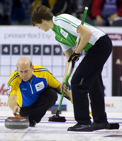 Kevin Martin of Alberta comes up short in the Hot Shots finals losing to Ontario's Richard Hart Saturday March 5, 2011 at the Brier in London's John Labatt Centre. MIKE HENSEN/THE LONDON FREE PRESS/QMI AGENCY