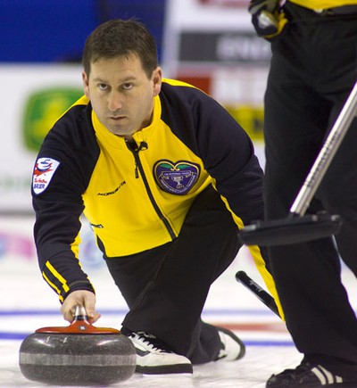 James Grattan skip of the New Brunswick rink delivers a rock early in their first round match against Glenn Howard of Ontario Saturday March 5, 2011 at the Brier in London's John Labatt Centre. Howard's final draw came up short allowing Grattan to steal two in the 10th and the win 5-4 over Howard.  MIKE HENSEN/THE LONDON FREE PRESS/QMI AGENCY