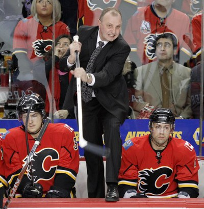 Calgary Flames coach Brent Sutter gives his opinion to the officials over a third-period penalty shot call during NHL action against the Columbus Blue Jackets at the Scotiabank Saddledome in Calgary on Friday March 4, 2011. It was the second penalty shot against the Flames in the game, but both were stopped by goaltender Miikka Kiprusoff. LYLE ASPINALL/CALGARY SUN/QMI AGENCY