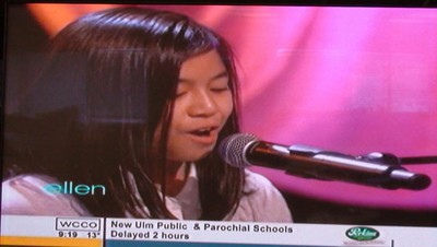 Maria Aragon, 10, performs on the Ellen DeGeneres show on Feb. 22, 2011. The Winnipeg YouTube sensation has surged to internet fame over the last few days and will soon appear on more talk shows and sing with her idol Lady Gaga. (JILLIAN AUSTIN/Winnipeg Sun)