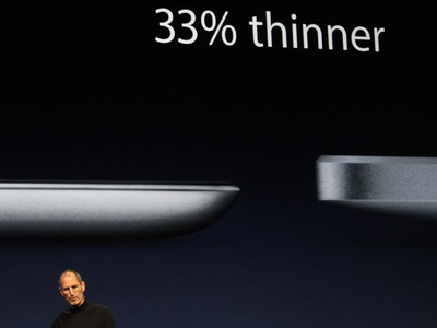 Apple Inc. CEO Steve Jobs introduces the iPad 2 which is 33% thinner, on stage during an Apple event in San Francisco, California March 2, 2011. Jobs took the stage to a standing ovation on Wednesday, returning to the spotlight after a brief medical absence to unveil the second version of the iPad.   (REUTERS/Beck Diefenbach)