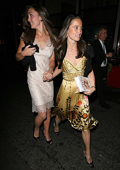 Kate Middleton and her sister Pippa Middleton leaving a book launch for 'The Young Starlin' by Simon Sebag Monteflore at Aspreys London, England, May 14, 2007. (WENN.COM)