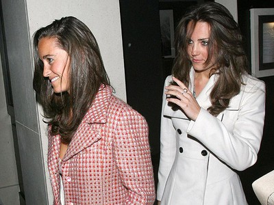 Kate Middleton leaving Tom Aikens Restaurant in Chelsea with her sister Pippa, after dining with her family to celebrate her 26th birthday London, England, Jan. 9, 2008. (WENN.COM)
