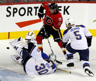 Calgary Flames Vs. St Louis Blues at the Scotiabank Saddledome Ben Bishop falls attempting to block a shot on goal on Sunday February 27, 2011. AARON ARMISHAW/SPECIAL TO CALGARY SUN/QMI AGENCY