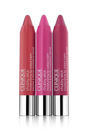 LIPSTICKS:  Clinique Moisturizing Lip Colour Balm Chubby Sticks ($19 each, available at Clinique counters nationwide) in shades of Whopping Watermelon, Mega Melon and Super Strawberry go perfectly with clothing in coral, pink and red tones. (Supplied)