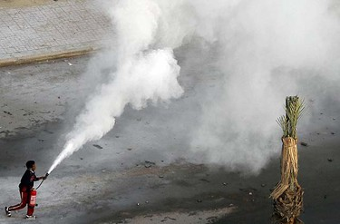 An anti-government protester uses a fire extinguisher in the port city of Suez, about 134 km (83 miles) east of Cairo, January 27, 2011. Police fired rubber bullets, water cannon and tear gas at hundreds of demonstrators in the eastern city of Suez, on a third day of protests calling for an end to Mubarak's 30 year-old-rule, a witness said. REUTERS/Mohamed Abd El-Ghany