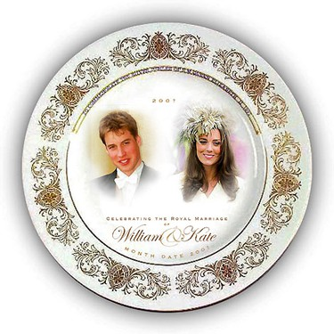 Images of Britain's Prince William and his girlfriend Kate Middleton are seen on a proposed souvenir wedding plate designed by, the then, high street retailer Woolworths, in this undated file photograph released in London on November 17, 2006.  Britain's Prince William is to marry his long-term girlfriend Kate Middleton next year, Buckingham Palace said on November 16, 2010.         REUTERS/Woolworths/Handout/Files