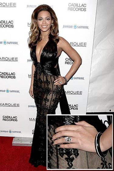 Ring: 18-carat flawless diamond.Worn by: Beyonce Estimated worth: $5 million. Although it's insured, the star reportedly wears a fake when she goes out on the town for fear of losing the original. (PNP/WENN.COM)