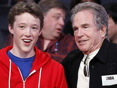 Warren Beatty (right) and his son Benjamin attend the NBA All-Star game in Los Angeles on Sunday, Feb. 20, 2011. (REUTERS/Danny Moloshok)