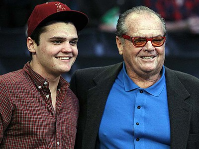 Actor Jack Nicholson (right) and his son Raymond attend the NBA All-Star game in Los Angeles on Sunday, Feb. 20, 2011. (REUTERS/Danny Moloshok)