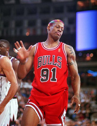 Dennis Rodman never actually retired from the NBA, finding his way to the newly formed ABA and a handful of games in Europe before finally ending his basketball career at the age of 46. (QMI Agency)