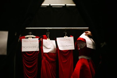Dresses are seen backstage before the Heart Truth's Red Dress Collection 2011 Fashion Show at New York Fashion Week Feb. 9, 2011. (Eric Thayer/REUTERS)