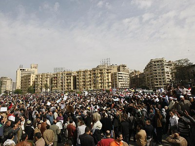 "Thousands of Egyptians gather in Cairo's Tahrir Square heeding a call by the opposition for a ""march of a million"" to mark a week of protests calling for the ouster of Hosni Mubarak's long term regime, on February 1, 2011. AFP PHOTO /MOHAMMED ABED"