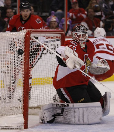 Brian Elliott, from the Ottawa Senators, makes a save against the Red Wings at Scotiabank Place in Ottawa, Wednesday February 2, 2011.   TONY CALDWELL/OTTAWA SUN