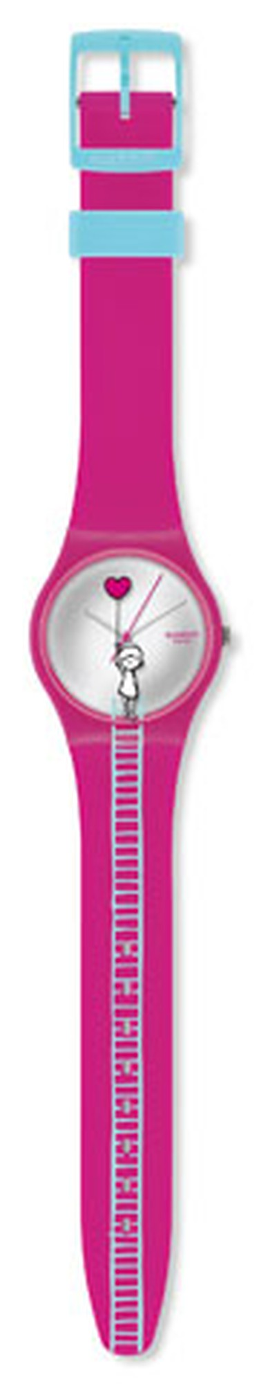 Make time, Valentine! Your love will keep lifting her higher with this adorable watch from the Swatch Love Collection, $65, www.swatch.com. (Courtesy of Swatch)